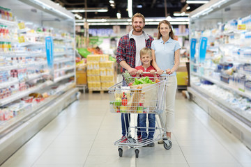 Bearded father, attractive mother and their little son posing for photo with wide smiles while shopping in hypermarket