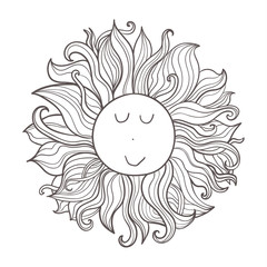 Vector doodle celestial illustration. Hand drawn cute funny character sun.