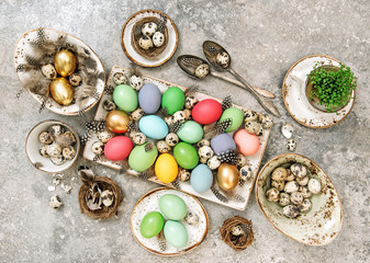 Colored Easter eggs Table decoration