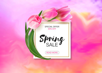 Big sale vector illustration banner. Circle label with leaves, flowers and pearls. Floral pattern.