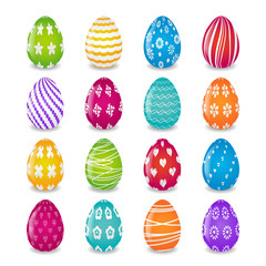 set of 16 colorful eggs with white patterns