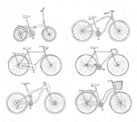 Set of hand drawn bicycles modern and retro style on white background. Outline illustration