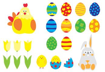 Easter elements collection with Easter eggs, cute bunny , tulips,  chick / vectors set for children