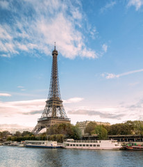 Beautiful landmark eiffel tower on seine river in paris
