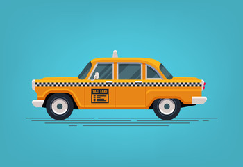 Door stickers New York TAXI Retro yellow taxi cab. Classic taxicab icon. Vector flat style illustration.