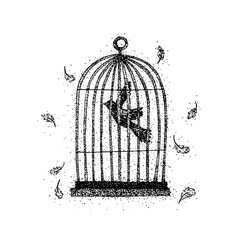 Dotwork Bird in a Cage