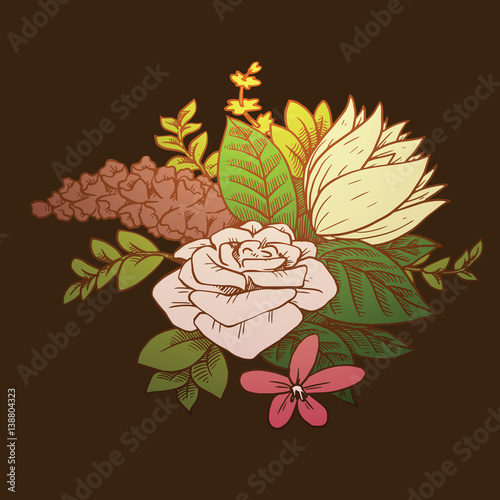 Vector Image Of A Beautiful Bouquet Of Different Types Of Flowers