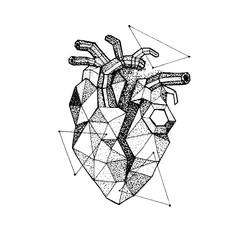 Dotwork Polygonal Broken Heart