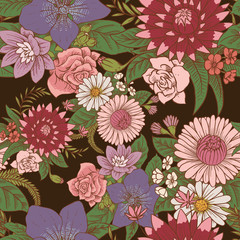 Vector seamless floral pattern with beautiful various flowers of different colors with green leaves on a dark background. Wallpaper, background, wrapping paper. Color image. Vector illustration.