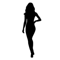 Attractive slim woman walking, isolated vector silhouette