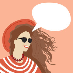 Young Woman Chat Bubble Copy Space Pop Art Style Vintage Retro Colorful Banner Vector Illustration