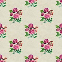 Seamless pattern with pink roses