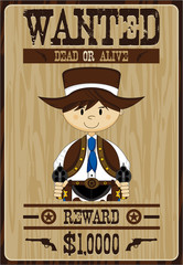 Cartoon Cowboy Outlaw Wanted Poster