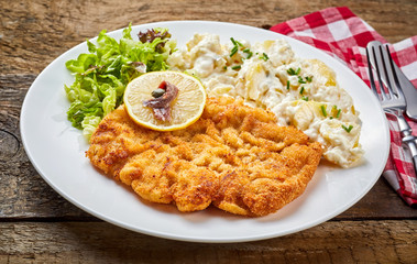 Schnitzel served with salad