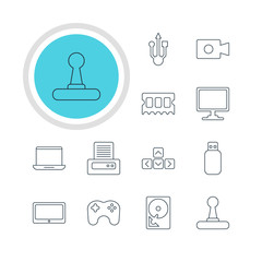 Vector Illustration Of 12 Computer Icons. Editable Pack Of Printer, Tablet, Gamepad And Other Elements.