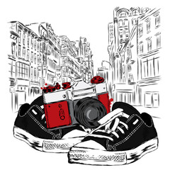 Vintage camera and sneakers on a city street. Vector illustration. Architecture.
