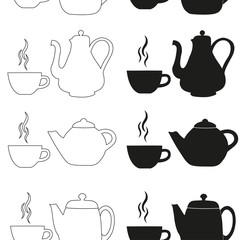 Seamless pattern with kettles and cups