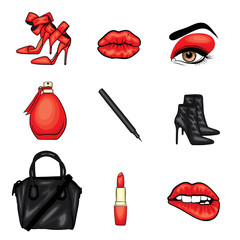 Set of trendy sticker. Lips, eyes with eyelashes and eyebrows, lipstick, pencil, bag and high heel shoes. Vector illustration.