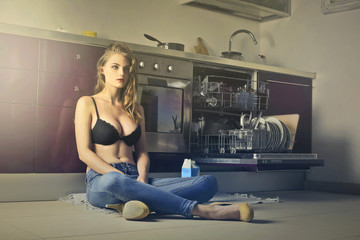 Sitting in the kitchen