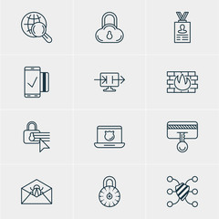 Vector Illustration Of 12 Privacy Icons. Editable Pack Of Easy Payment, Safeguard, Safe Storage And Other Elements.