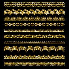 Set of holiday ribbons and borders. Vector