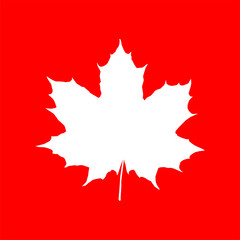Maple leaf silhouette on red backdrop. Element for your design project.