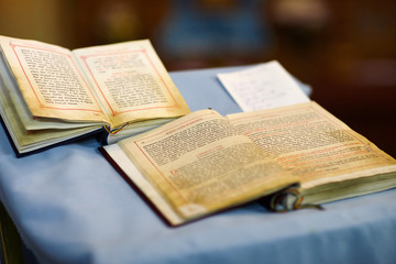 Two old bibles on wedding ceremony