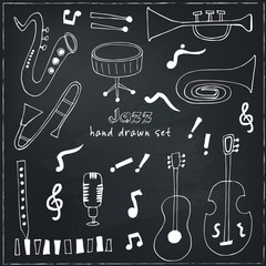 Jazz musical instruments vector set