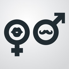 Icono plano femenino labios y masculino bigote en fondo degradado