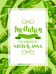 Invitation with banana palm leaves. Decorative tropical foliage