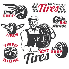 tires shop or service retro emblem and labels collection