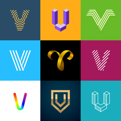 "Letter ""V"" big logo pack. Creative vector monograms. Striped, ribbon, colorful, isometric, linear, 3d logos.Eps10 format."