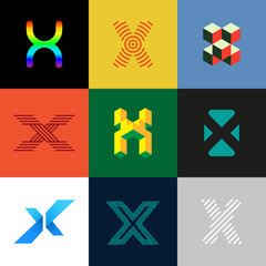 "Letter ""X"" big logo pack. Creative vector monograms. Striped, ribbon, colorful, isometric, linear, 3d logos.Eps10 format."
