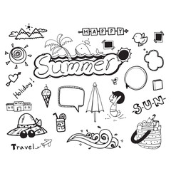 summer doodle hand drawing vector symbol on white background