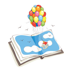 Travel without leaving home / Vector illustration, house flies on a bunch of balloons from book