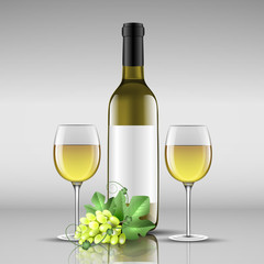 bottle of white wine with glass