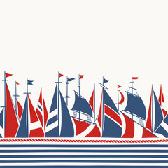 Retro Border with Sailing Ships. Seamless hand drawn Pattern