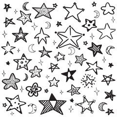 set of hand drawn doodle outline star vector illustration