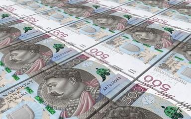 Polish zloty bills stacked background. 3D illustration.