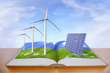 open book with wind turbines and solar panels