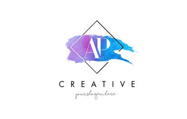 AP Artistic Watercolor Letter Brush Logo.