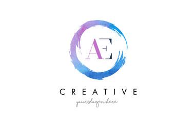 AE Letter Logo Circular Purple Splash Brush Concept.