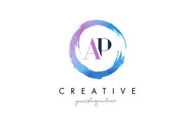 AP Letter Logo Circular Purple Splash Brush Concept.