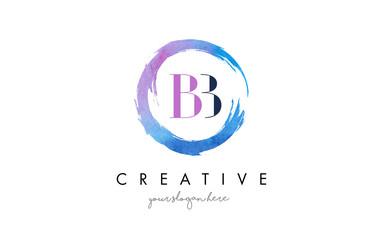 BB Letter Logo Circular Purple Splash Brush Concept.