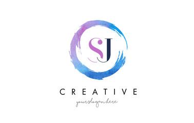 SJ Letter Logo Circular Purple Splash Brush Concept.