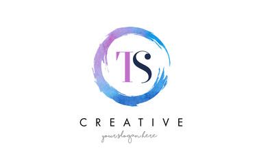 TS Letter Logo Circular Purple Splash Brush Concept.