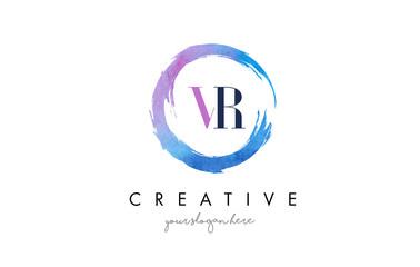 VR Letter Logo Circular Purple Splash Brush Concept.