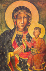 BERLIN, GERMANY, FEBRUARY - 15, 2017: The painting of Ikon Mother Mary of Czestochowa (Black Madonna) in church Rosenkranz Basilica by unknown artist of 20. cent..