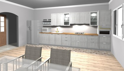 white kitchen 3D rendering interior design with wooden top