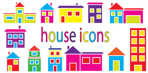 Set of houses icons vector isolated in white background.